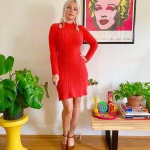 Vintage 50s 60s mod red stretchy knit mini dress D